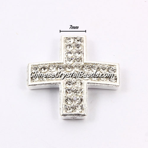 pave alloy cross, silver, 25x25mm, hole: 1.5mm, Sold individually.