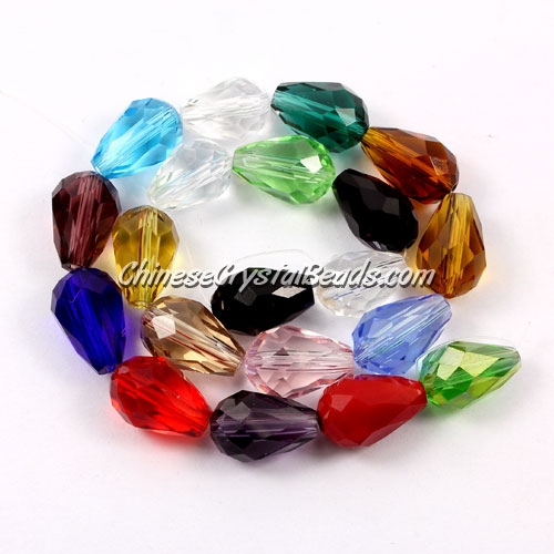 30Pcs 8x12mm Crystal Teardrop Bead Strand, Multi