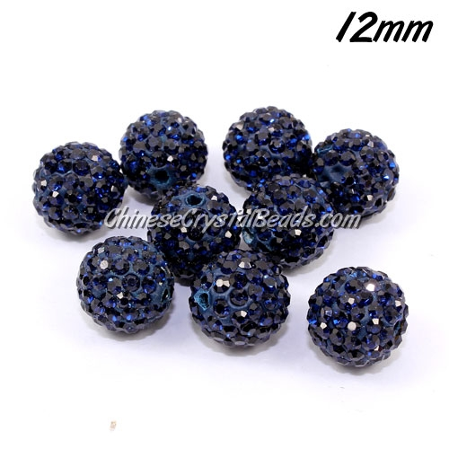 50pcs, 12mm Pave beads, hole: 1.5mm, clay disco beads, dark blue
