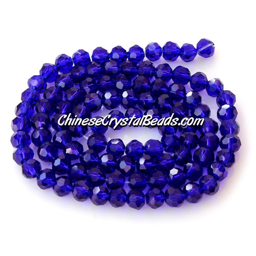 Chinese Crystal 4mm Long Round Bead Strand, dark sapphire, about 100 beads