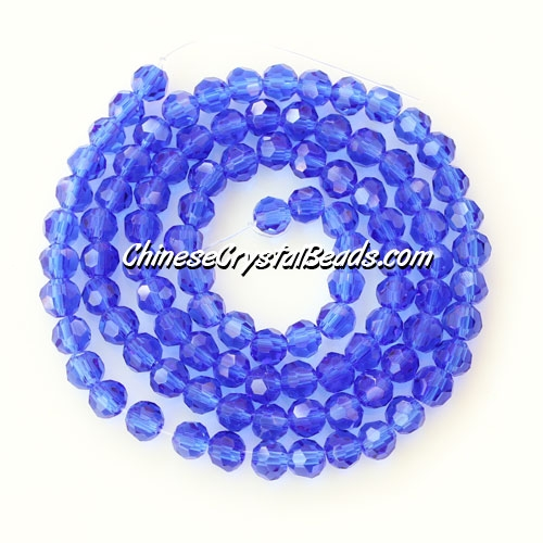 Crystal round bead strand, 4mm, med sapphire, sold per pkg of about 100pcs