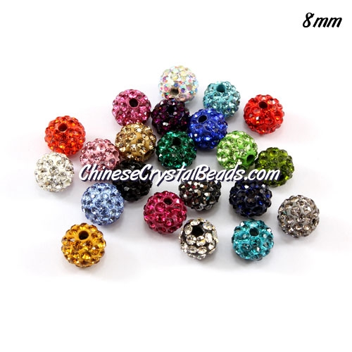 50pcs, 8mm Pave clay disco beads, hole: 1mm, multi-color