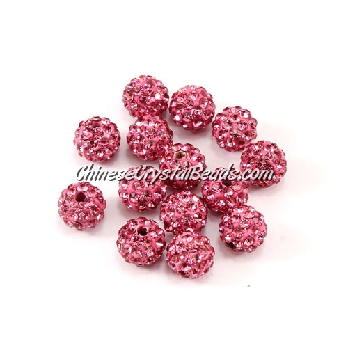 50pcs, 8mm Pave clay disco beads, hole: 1mm, pink