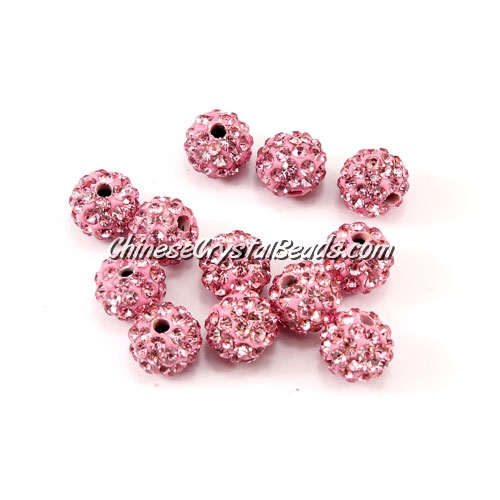50pcs, 8mm Pave clay disco beads, hole: 1mm, light pink