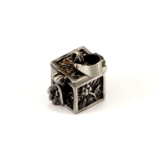 charms, alloy box, 10x10x11mm, Sold individually.