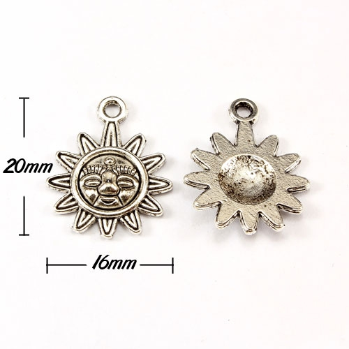"Charm, antiqued silver-finished ""pewter"" (zinc-based alloy), 16x20mm sun. Sold per pkg of 10pcs"