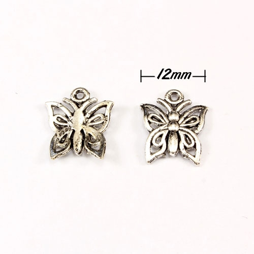 "Charm, antiqued silver-finished ""pewter"" (zinc-based alloy), 12mm butterfly. Sold per pkg of 50."