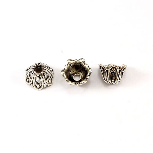 "Bead cap, antiqued Silver-finished ""pewter"" (zinc-based alloy), 6x9mm flower, Sold per pkg of 50pcs."