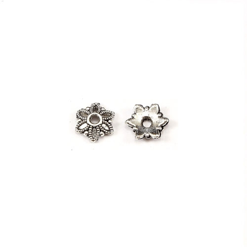 "Bead cap, antiqued silver-finished ""pewter"" (zinc-based alloy), 2x8mm flower, Sold per pkg of 100pcs."
