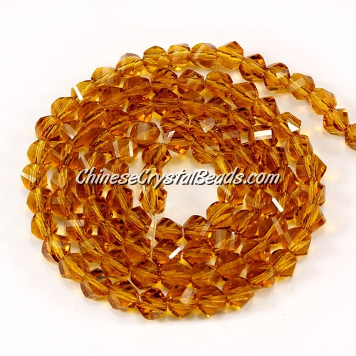 Crystal Helix Beads Strand, 4mm, Amber, about 100 beads, 15 inch