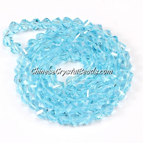 Crystal Helix Beads Strand, 4mm, Aqua, about 100 beads, 15 inch