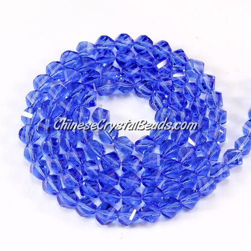 Crystal Helix Beads Strand, 4mm, med sapphire, about 100 beads, 15 inch