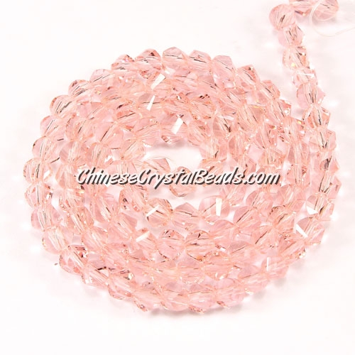 Crystal Helix Beads Strand, 4mm, Pink, about 100 beads, 15 inch