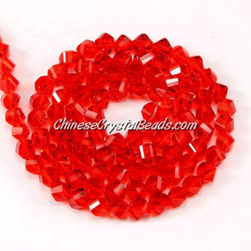 Crystal Helix Beads Strand, 4mm, light siam, about 100 beads, 15 inch
