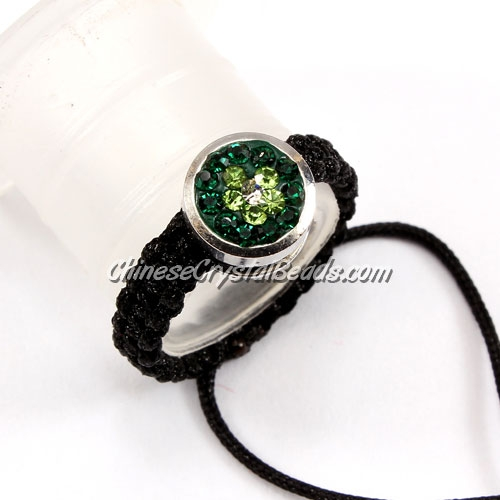 Pave ring, 10mm, button, green-flower, Sold individually.