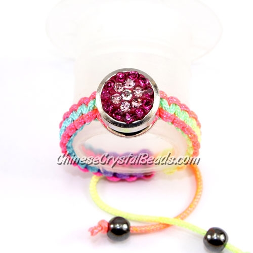 Pave ring, 10mm, button, fuchsia-flower, Sold individually.