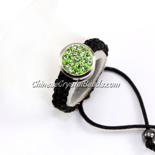 Pave ring, 10mm, button, lime-green, Sold individually.