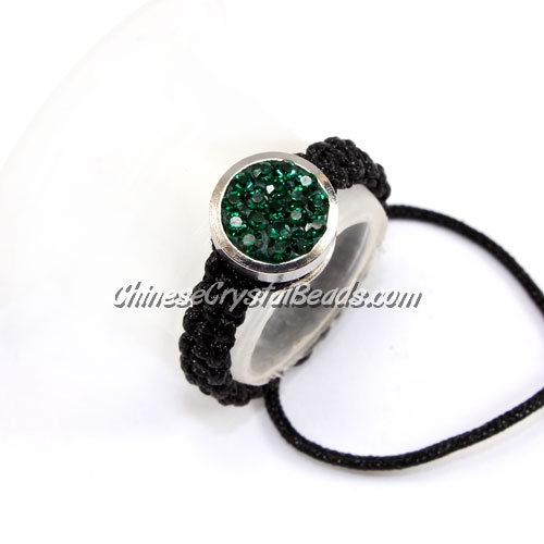 Pave ring, 10mm, button, emerald, Sold individually.