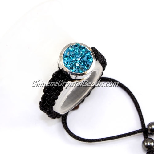 Pave ring, 10mm, button,dark aqua, Sold individually.