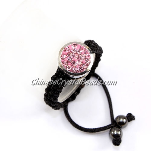 Pave ring, 10mm, button, pink, Sold individually.
