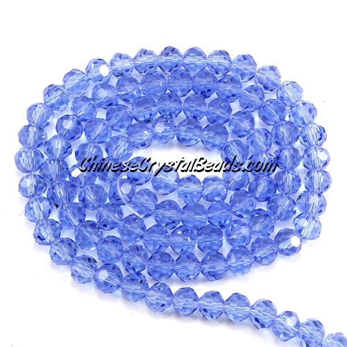 Chinese Crystal 4mm Long Round Bead Strand,light sapphire, about 100 beads