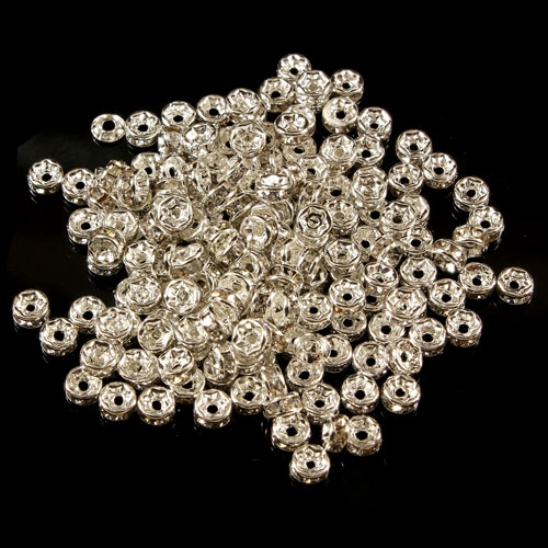 4mm Rondelle spacer , hole 0.8mm, Clear Crystal Rhinestone, 50 piece