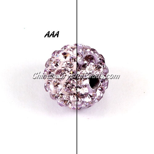 10Pcs 10mm AAA high quality Pave beads, Shining, Lt. Purple