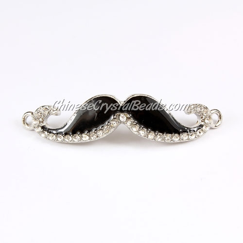 Pave accessories, mustache, 13x55mm, Black, Sold individually.