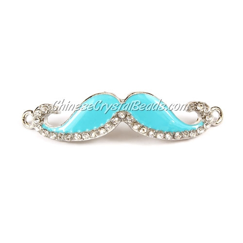 Pave accessories, mustache, 13x55mm, Aqua, Sold individually.