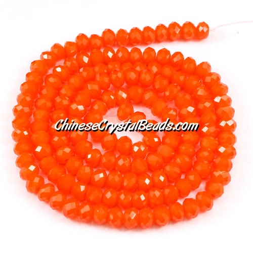 Chinese Crystal Long Rondelle Strand, 3x4mm, opaque tangerine, about 150 beads
