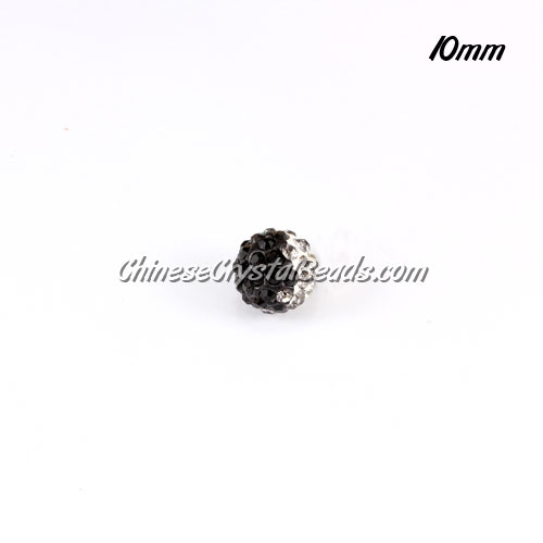 Clay Pave disco beads, Color Gradient white-black, hole: 1.5mm, sold per pkg of 10pcs