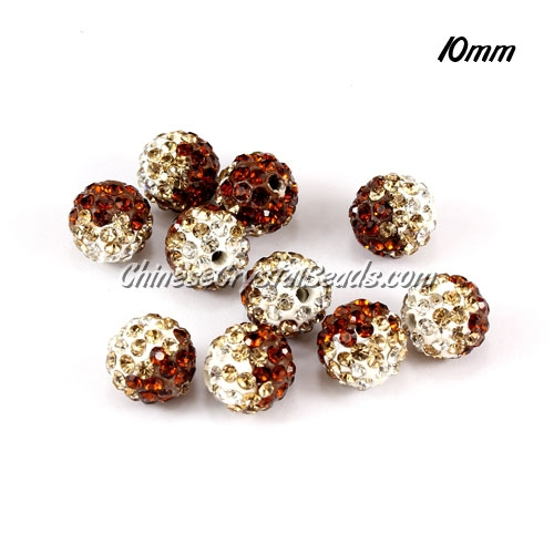 Clay Pave disco beads, Color Gradient white-coffee, hole: 1.5mm, sold per pkg of 10pcs