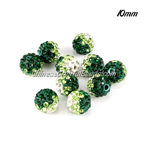 Clay Pave disco beads, Color Gradient white-emerald, hole: 1.5mm, sold per pkg of 10pcs