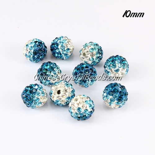 Clay Pave disco beads, Color Gradient white-indicolite, hole: 1.5mm, sold per pkg of 10pcs