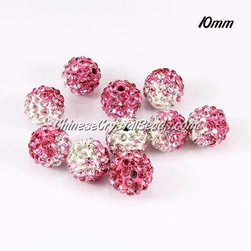 Clay Pave disco beads, Color Gradient white-pink, hole: 1.5mm, sold per pkg of 10pcs