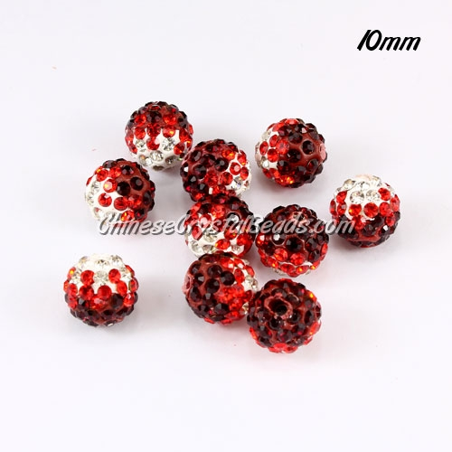 Clay Pave disco beads, Color Gradient white-red, hole: 1.5mm, sold per pkg of 10pcs
