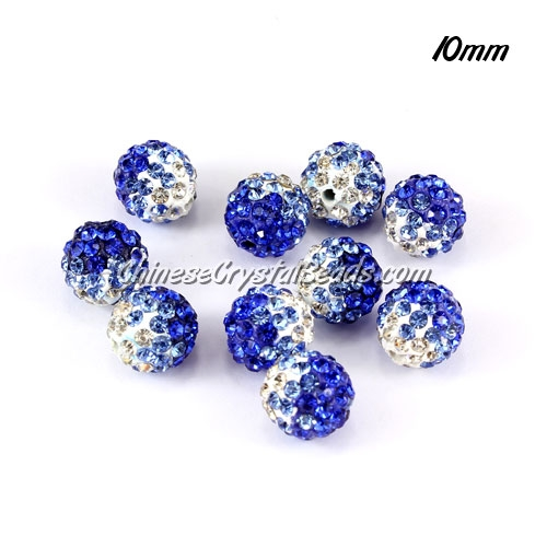 Clay Pave disco beads, Color Gradient white-sapphire, hole: 1.5mm, sold per pkg of 10pcs
