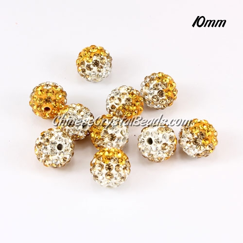 Clay Pave disco beads, Color Gradient white-sun, hole: 1.5mm, sold per pkg of 10pcs