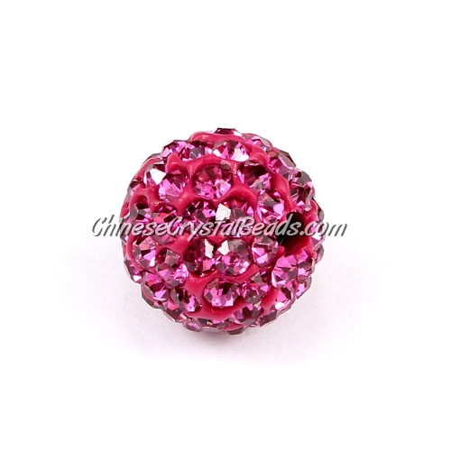 10Pcs 10mm AAA high quality Pave beads, Shining, Fuchsia