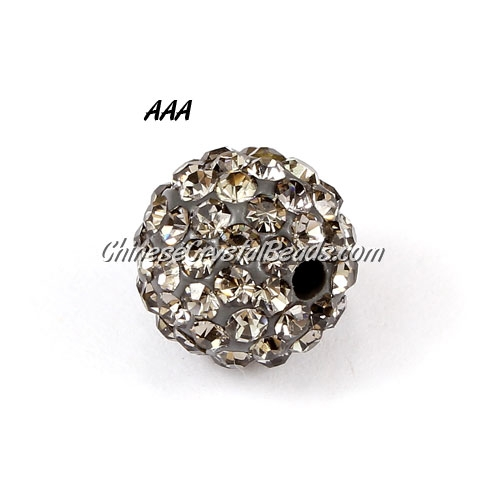10Pcs 10mm AAA high quality Pave beads, Shining, Hole:1.5mm Gray
