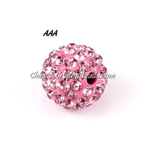 10Pcs 10mm AAA high quality Pave beads, Shining, ligth pink