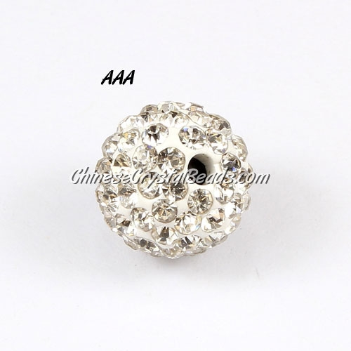 10Pcs high quality Pave beads, Shining, 10mm, White