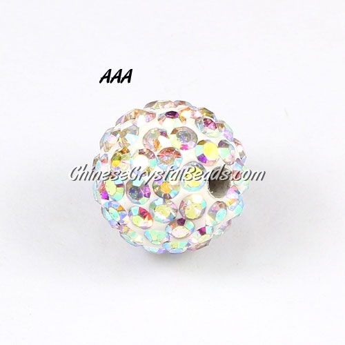 10Pcs high quality Pave beads, Shining, 10mm, White AB
