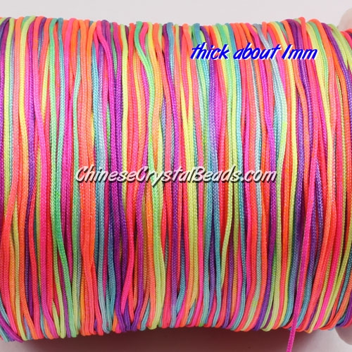 thick about 1mm, nylon string, rainbow color,(Sold by the meter)