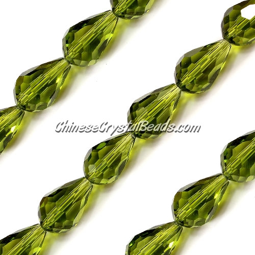 20Pcs 10x15mm Chinese Crystal Teardrop Beads, olivine