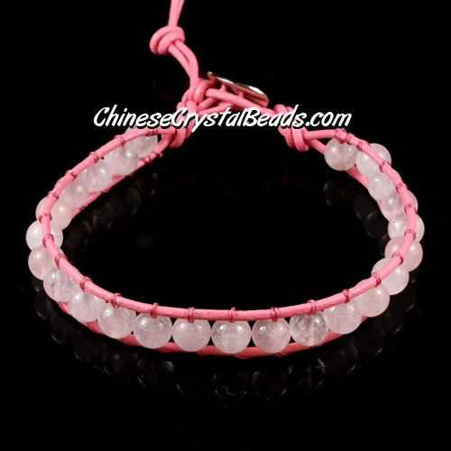 Beaded Wrap Bracelet, 1mm pink leather, 6mm nature white crystal beads