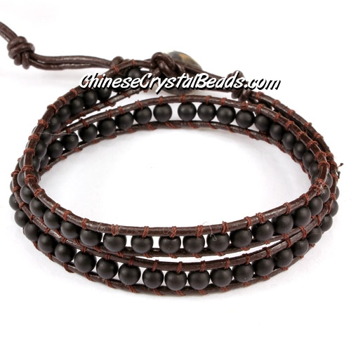 Beaded Wrap Bracelet, 4mm Black Frosted agate beads, 12.5""