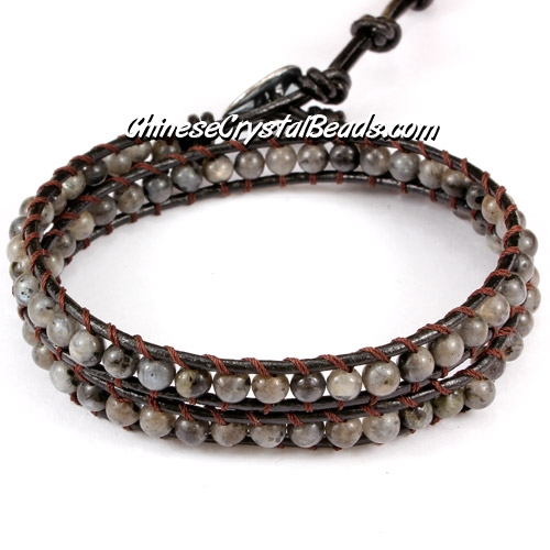 Beaded Wrap Bracelet, 4mm gray agate beads, 12.5""