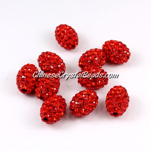 Oval Pave Beads, 9x13mm, Clay, red, sold per 10pcs bag