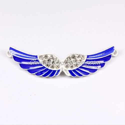 Pave accessories, angel wings, 12x56mm, white, sapphire, sold 1 pcs